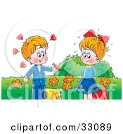 Clipart Illustration Of A Cute Little Boy Giving Candy To A Girl He Has A Crush On