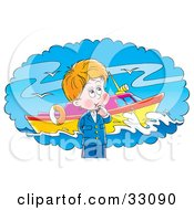 Clipart Illustration Of A Little Boy Day Dreaming Of A Boat Out At Sea by Alex Bannykh