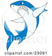 Clipart Illustration Of An Angry Blue Shark Gritting His Teeth And Preparing To Attack