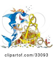 Clipart Illustration Of A Crab On A Rope Near A Pirate Shark With Sunken Treasure