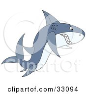 Clipart Illustration Of An Angry Gray Shark Swimming With Its Teeth Bared