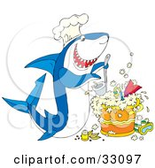 Clipart Illustration Of A Hungry White And Blue Shark Wearing A Chef Hat Cooking Up A Pot Of Scuba Stew by Alex Bannykh