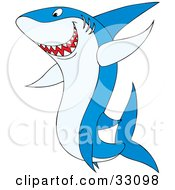 Clipart Illustration Of A Tough Blue Shark Swimming To The Left