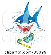 Clipart Illustration Of A Shark Swimming Through Bubbles Toward Sinking Snorkel Gear by Alex Bannykh