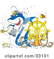 Clipart Illustration Of A Fish Near A Shark Captain Leaning On A Sunken Ships Helm