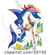 Clipart Illustration Of A Pirate Shark With A Sword Tattoo And Cane Swimming Over A Shipwreck Site by Alex Bannykh