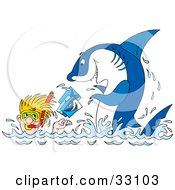 Clipart Illustration Of A Snorkeling Man Taking Pictures Of A Proud Shark by Alex Bannykh