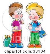 Clipart Illustration Of Two Little Boys Laughing And Talking At A Bus Stop