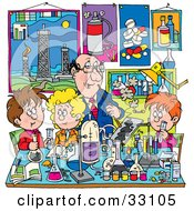 Clipart Illustration Of A Male Teacher Supervising School Boys And Girls In A Science Lab by Alex Bannykh