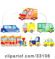 Clipart Illustration Of A Firetruck Limo Moving Truck Bus Train Big Rig And Compact Car by Alex Bannykh