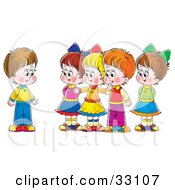 Clipart Illustration Of A Group Of Children Welcoming A New Friend