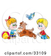 Clipart Illustration Of A Dog Running Back And Forth Between A Brother And Sister