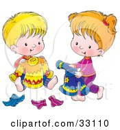Clipart Illustration Of A Boy And Girl Picking Out Sweaters And Socks To Wear For The Next Day