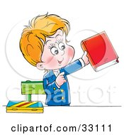 Clipart Illustration Of A School Boy In His Uniform Standing And Holding A Book