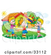 Clipart Illustration Of A Children Tossing A Ball And Riding A Scooter Outside On A Sunny Day by Alex Bannykh