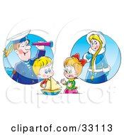 Clipart Illustration Of A Little Boy And Girl Playing With A Boat And Imagining Their Ancestors