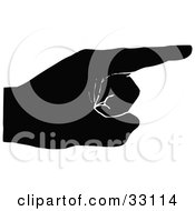 Clipart Illustration Of A Black Silhouetted Hand Pointing Right