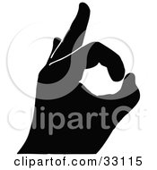 Clipart Illustration Of A Black Silhouetted Hand Signaling Approval And OK