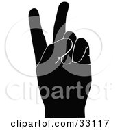 Clipart Illustration Of A Black Silhouetted Hand Signaling The Peace Sign