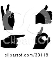Set Of Four Black Silhouetted Hands Gesturing Peace Thumbs Up Pointing And Ok