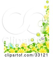 Clipart Illustration Of A Border Of Yellow Flowers Green Leaves And Colorful Easter Eggs by elaineitalia