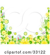 White Background Bordered By Yellow Flowers And Colorful Easter Eggs