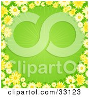 Clipart Illustration Of A Border Of Yellow Flowers Around A Green Background With A Faint Burst Of Light