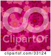 Clipart Illustration Of A Pink Background With Pink And Purple Flowers