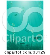 Clipart Illustration Of Fish Swimming Above Grasses With Bubbles Underwater With Rays Of Sunshine Beaming Down From The Surface by elaineitalia
