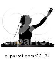 Clipart Illustration Of A Silhouetted Female DJ Holding Her Arm Up In The Air Wearing Headphones And Mixing A Record
