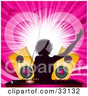 Clipart Illustration Of A Female DJ Mixing Records In Front Of Golden Speakers Silhouetted Against A Bursting Pink Grunge Background by elaineitalia #COLLC33132-0046