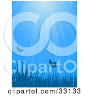 Clipart Illustration Of Butterflies Over Blades Of Grass Against A Blue Background With Rays Of Light by elaineitalia
