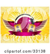 Winged Purple Disco Ball With Headphones Speakers And A Banner On A Yellow Bursting Background With Equalizer Bars