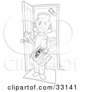 Clipart Illustration Of A Friendly Female Nurse Holding A Newspaper And Waving While Standing In A Doorway by YUHAIZAN YUNUS