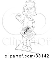 Clipart Illustration Of A Waving Female Nurse Standing On A Mat Waving And Carrying A Newspaper by YUHAIZAN YUNUS