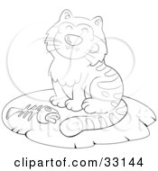 Fat Cat On Mat Black And White Clip Art