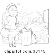 Clipart Illustration Of A Woman Wearing A Mask Over Her Face While Taking The Trash Out In A Polluted Environment