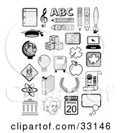Set Of Educational Icons Including Music Notes The Abcs Globe Albertin Einstein Molecules And School Supplies