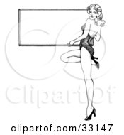 Clipart Illustration Of A Sexy Black And White Pinup Girl In Heels Holding A Blank Sign by C Charley-Franzwa