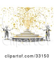 Two White 3d Business People Holding Their Around Out While A Fountain Shoots Out Gold Coins