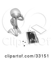 3d Stressed Out Silver Person Kneeling Before A Broken Laptop Computer