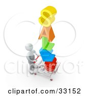 Clipart Illustration Of A White Person Pushing A Shopping Cart With The Colorful Word SALES In The Cart Getting Great Deals During A Store Promotion