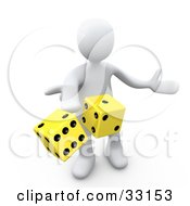 Clipart Illustration Of A 3d White Person Tossing Up A Pair Of Yellow Dice Symbolizing Chance And Risk by 3poD