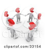 Clipart Illustration Of A Group Of 3d White People With Red Euro Heads Standing In A Circle And Holding Hands by 3poD