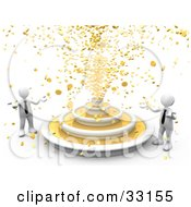Clipart Illustration Of A 3d Fountain Showering Gold Coins Down On Two White Business People