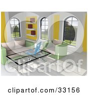 3d Home Interior With Green And Beige Furniture Windows A Book Shelf Tile Flooring And A Laptop On A Coffee Table