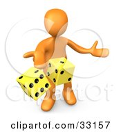 3d Orange Person Tossing Up A Pair Of Yellow Dice Symbolizing Chance And Risk