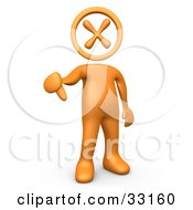 Clipart Illustration Of An Orange Person With An X Head Giving The Thumbs Down