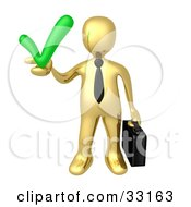 Gold Business Man Carrying A Briefcase And Holding A Green Check Mark Symbolizing Solutions And Approval