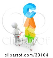 Clipart Illustration Of A 3d White Person Pushing A Shopping Cart With Colorful Text
